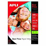 Фотохартия Apli 11804 за мастиленоструен принтер, А4, гланц, 140 г/кв.м, 100 листа
