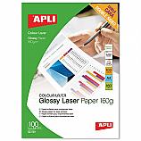 Фотохартия Apli 11817 за лазерен принтер, А4, гланц double side, 160 гр/кв.м, 100 листа